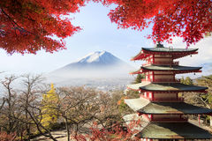 Mt. Fuji viewed from behind Chureito Pagoda. Royalty Free Stock Photography