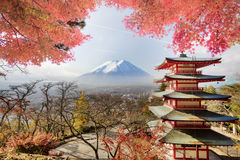 Mt. Fuji viewed from behind Chureito Pagoda. Stock Photography