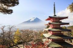 Mt. Fuji viewed from behind Chureito Pagoda. Royalty Free Stock Photo