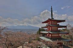 Chureito Pagoda at Arakura Sengen Shrine. Mt Fuji viewed from behind Chureito Pagoda at 2016 Stock Photography
