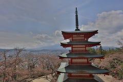 Arakura Sengen Shrine in Fujiyoshida. Mt Fuji viewed from behind Chureito Pagoda at 2016 Royalty Free Stock Images