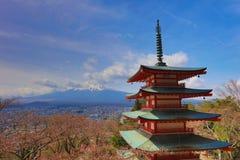 Chureito Pagoda at Arakura Sengen Shrine. Mt Fuji viewed from behind Chureito Pagoda at 2016 Stock Photo