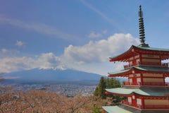 Mt Fuji viewed from behind Chureito Pagoda Royalty Free Stock Photo