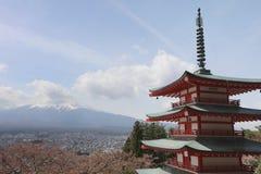 Sengen Shrine area is viewpoint of Mount Fuji i. Mt Fuji viewed from behind Chureito Pagoda at 2016 Royalty Free Stock Photos