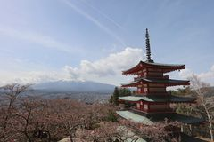 Sengen Shrine area is viewpoint of Mount Fuji i. Mt Fuji viewed from behind Chureito Pagoda at 2016 Stock Photos