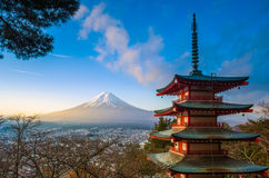 Mt. Fuji viewed from Chureito Pagoda Stock Images