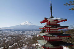 Mt.Fuji at Chureito Pagoda Royalty Free Stock Photo