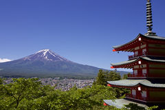 Mt. Fuji viewed from Sengen shrine in Japan Royalty Free Stock Photo