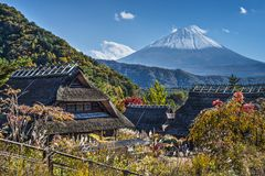 Mt Fuji and A Village Stock Photo