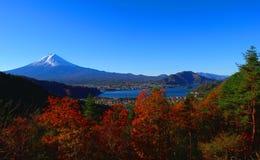 Mt Fuji w jesieni od wzgórza Jeziorny Kawaguchi Zdjęcie Stock