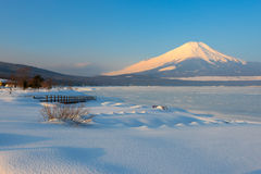 Mt Fuji with Warm Morning Light in Winter, Japan Stock Photo