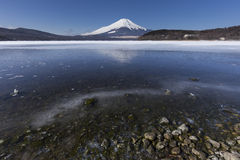 Mt. Fuji winter season shooting from Lake Yamanaka. Yamanashi, J. Apan Royalty Free Stock Image