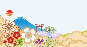 Mt Fuji y flores japonesas stock de ilustración