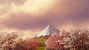 Mt Fuji y Sakura floreciente en la salida del sol o la puesta del sol 4K metrajes