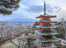 Mt.fuji z Sakura przedpolem przy Chureito pagodą Obraz Royalty Free