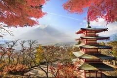 Mt Fuji z spadków kolorami w Japan fotografia stock