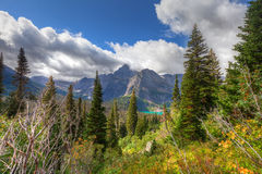 MT-Glacier National Park-Grinnell Glacier trail. This image was captured on the steep and spectacular Grinnell Glacier Trail royalty free stock photography