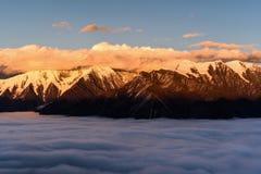 Mt Gongga на заходе солнца Стоковая Фотография RF