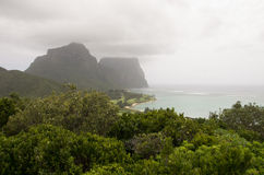 Mt Gower, Lord Howe Island, Australia. A misty view of Mt Gower from Transit Hill on Lord Howe Island, off the coast of New South Wales, Australia royalty free stock photos