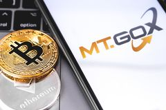 MT.GOX logo of exchange on the screen smartphone. MT.GOX is popular largest cryptocurrency exchange on the market. Moscow, Russia - February 13, 2019 royalty free stock photos