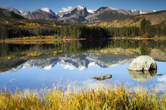 Mt. Hallet reflected in Sprague Lake at Rocky Mountain NP. Morning reflections of Mt. Hallet in SPrague Lake at Rocky Mountain National Park near Estes Park royalty free stock photo