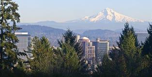 Mt., Haubenpanorama und im Stadtzentrum gelegenes Portland Oregon Lizenzfreie Stockfotos