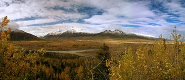 Mt. Hayes with delta river in Alaska. Alaska. Panorama image of Mount Hayes, Delta River and Black Rapids Glacier from Richardson Highway north of Paxson Royalty Free Stock Photography