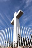 Mt Helix cross with fence. The cross memorial at Mount Helix park in San Diego, California in side view with fence stock photo