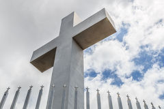 Mt. Helix Cross with Fence Railing and Cloudy Blue Sky Stock Images