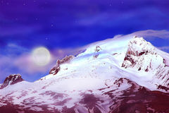 MT Hood. Image of Mt Hood, Oregon as evening sets in and the stars and moon appear royalty free stock photo