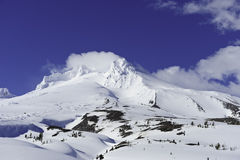 Mt Hood. Mt. Hood covered in snow with ski lifts stock photography
