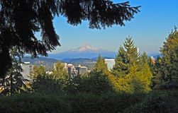 Mt. Hood Above Portland, Oregon Royalty Free Stock Photos