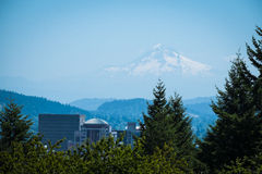 Mt. Hood above Portland, Oregon. On a summer day Royalty Free Stock Photos