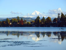 Mt. Hood and blue lake park, Oregon. Stock Photo