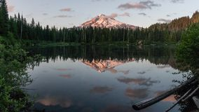 Burnt Lake Reflection. Mt Hood and Burnt Lake at sunset. Mt Hood WIlderness Area, Oregon Stock Images