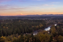Mt.Hood and Clackamas river in autumn sunset. Overlook to Clackamas river valley in autumn sunset. Mt. Hood at background. Oregon, USA Stock Images