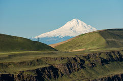 Mt Hood and Columbia Gorge cliffs Stock Photos