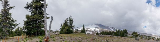 Mt. Hood, covered cloud in Oregon. Panoramic stock photo