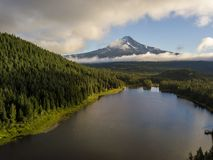 Mt. Hood and forest across Trillium Lake in Oregon stock image