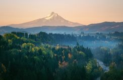 Mt Hood on a hazy autumn morning from the air above the Hood River stock photos