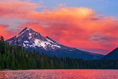 Mt. Hood and Lost Lake, Oregon at sunset. royalty free stock photography
