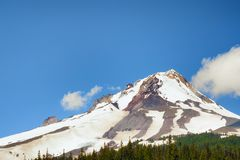 Mt. Hood in Mt. Hood National Forest. Mount Hood a volcano peak in Oregon`s Cascade Mountain Range sit above the timberline of Mt. Hood National Forest Stock Photography