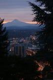 Mt. Hood and Portland at Dusk Royalty Free Stock Image