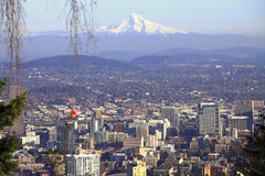 Mt. Hood & a Portland panorama. Mt. Hood and the city of Portland in the foreground Stock Photography