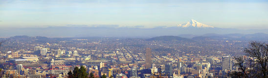 Mt. Hood & Portland OR. panorama. A detailed view of Portland and the surrounding areas Royalty Free Stock Photos