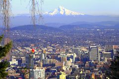 Mt. Hood & Portland panorama. Royalty Free Stock Photography