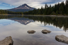 Mt Hood reflecting off of Trillium Lake Stock Photography