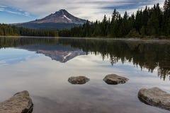 Mt Hood reflecting off of Trillium Lake Stock Photography