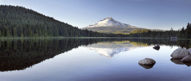Mt Hood Reflection on Trillium Lake Panorama Royalty Free Stock Images