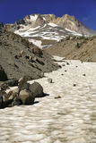 Mt. Hood Snow Vertical. Zigzag Creek full of snow leads to Zigzag Glacier on Mt Hood in the summer Royalty Free Stock Photography
